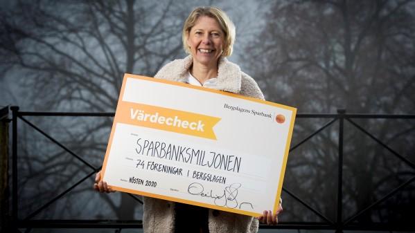 Cecilia Jeffner, vd Bergslagens Sparbank. Miljonbidrag.